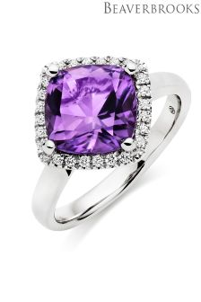 Beaverbrooks 9ct White Gold Diamond Amethyst Ring