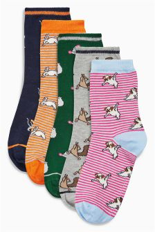 Yoga Pug Pattern Socks Five Pack