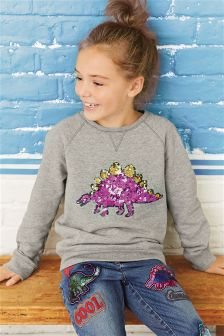 Sequin Dinosaur Crew Top (3-16yrs)
