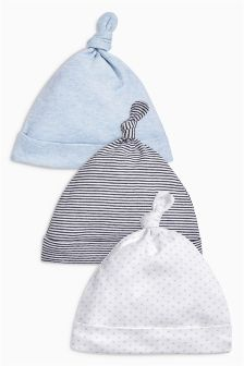 Tie Top Hats Three Pack (0-18mths)