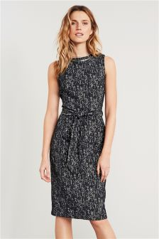 Textured Tie Waist Dress