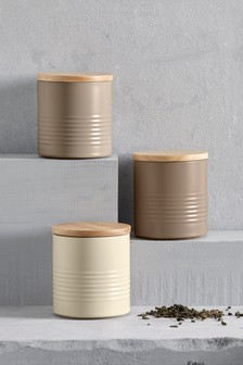 Set Of 3 Metal Ripple Storage Jars