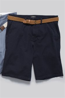 Textured Belted Chino Shorts