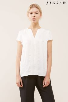 Jigsaw White Crocus Drape Top