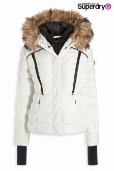 Superdry White Glacier Biker Jacket