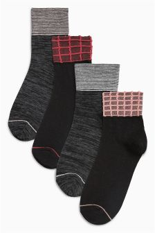 Check Pattern Socks Four Pack