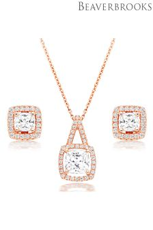 Beaverbrooks Silver Rose Gold Plated Cubic Zirconia Halo Pendant And Stud Earrings Set