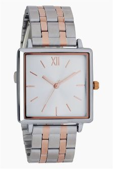 Square Face Inlay Bracelet Watch