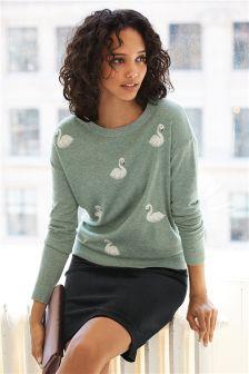 Embellished Swan Sweater