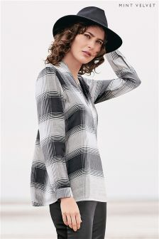 Mint Velvet Grey Zipped Asymmetric Checked Tunic