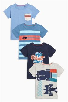 Short Sleeve Stripe Cars T-Shirts Four Pack (3mths-6yrs)