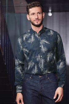 Leaf Print Long Sleeve Shirt