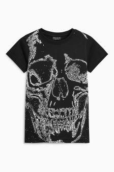 Textured Skull Print T-Shirt (3-16yrs)
