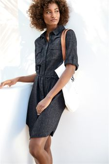 Linen Blend Shirt Dress