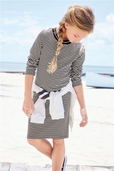 Stripe Long Sleeve Rib Dress (3-16yrs)