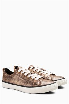 Metallic Lace-Up Baseball Pumps