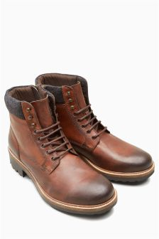Burnished Leather Heavy Cleated Boot