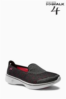Skechers Grey/Pink Go Walk 4 Slip On Trainer
