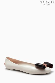 Ted Baker Cream PVC Black Bow Ballerina Pump