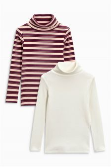 Long Sleeve Rib Roll Neck Two Pack (3-16yrs)