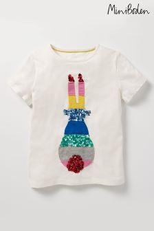 Boden Ecru Sequin Rainbow T-Shirt