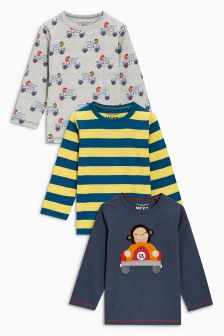 Long Sleeve Bouclé Monkey T-Shirt Three Pack (3mths-6yrs)