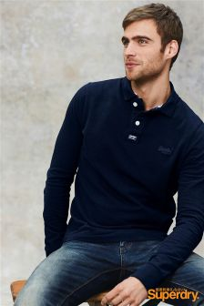 Superdry Navy Long Sleeve Polo