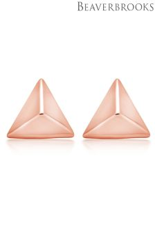 Beaverbrooks Silver Rose Gold Plated Triangle Stud Earrings
