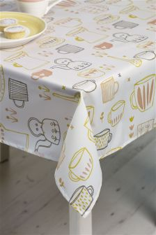 Wipe Clean Time For Tea PVC Tablecloth