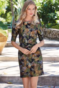 Palm Jacquard Dress