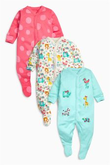 Animal Sleepsuits 3 Pack (0mths-2yrs)