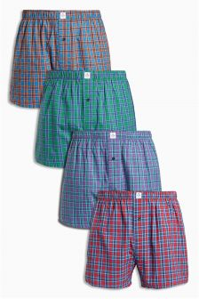 Check Woven Boxers Four Pack