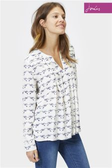 Joules Magda Cream Lovebirds Pleat Woven Top