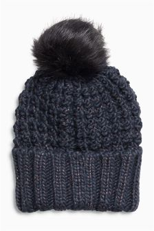Popcorn Knitted Pom Hat