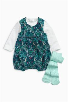 Print Cord Dungarees, Bodysuit And Tights Set (0mths-2yrs)
