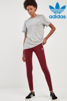 adidas Originals Burgundy 3 Stripe Legging