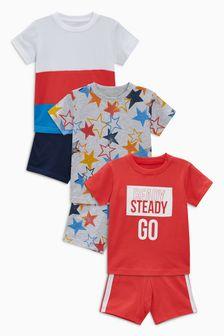 Star/Slogan Pyjamas Three Pack (9mths-8yrs)