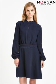 Morgan Tie Neck Long Sleeve Shift Dress