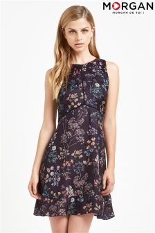 Morgan Flower Print Short Sleeve Flare Dress