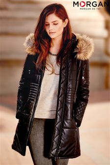 Morgan Long Lined Leather Look Puffa Coat