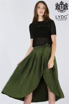 LYDC Pleated Tie Waist Skirt