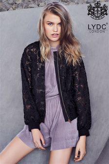 LYDC Lace Organza Bomber Jacket