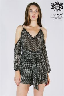 Lydc Shoulder Cut Out Lace Insert Playsuit