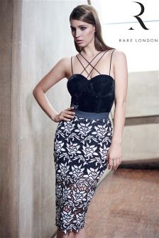 Rare Limited Edition Cross Strap Lace Pencil Midi
