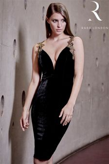 Rare Plunge Velvet Bodycon Dress