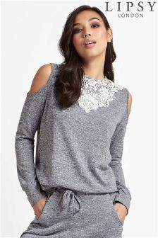 Lipsy Cold Shoulder Lace Jumper