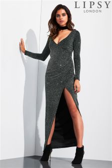 Lipsy Long Sleeve Glitter Split Front V neck Maxi Dress