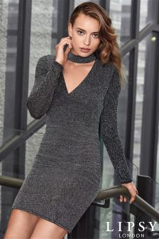 Lipsy Long Sleeve Glitter Choker Dress