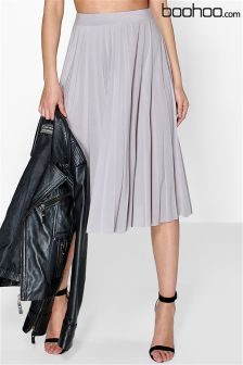 Boohoo Pleated Slinky Midi Skirt