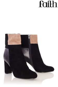 Faith Suede Contrast Patchwork Ankle Boots